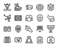 Ice Hockey - Bold Line Icons