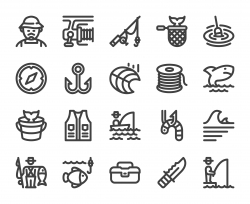 Fishing - Bold Line Icons