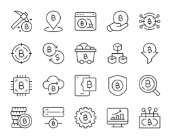 Cryptocurrency - Light Line Icons