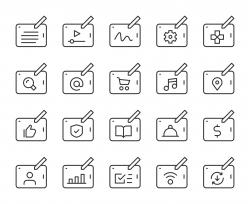 Digital Tablet Set 1 - Light Line Icons