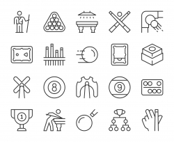 Snooker and Pool - Light Line Icons