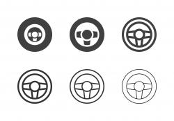 Car Steering Wheel Icons - Multi Series