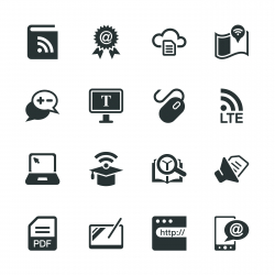 Online Education Silhouette Icons