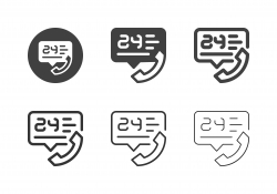 24 Hours Call Center Icons - Multi Series