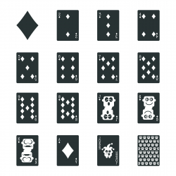 Diamond Suit Playing Card Silhouette Icons
