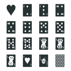 Heart Suit Playing Card Silhouette Icons