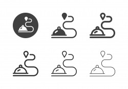 Food Delivery Route Icons - Multi Series