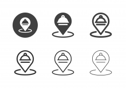 Food Place Pinpoint Icons - Multi Series