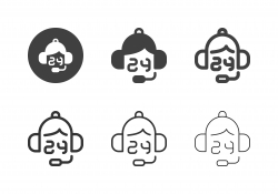24 Hrs Telephone Worker Icons - Multi Series