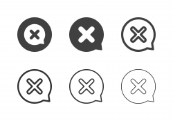 X Marks Circle Bubble Icons - Multi Series