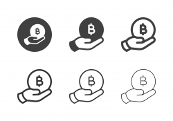 Hand Holding Bitcoin Icons - Multi Series