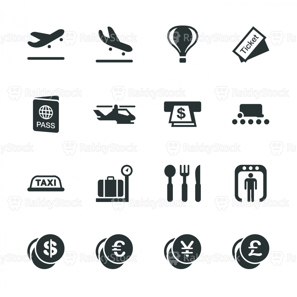 Air Travel Silhouette Icons
