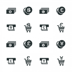 Currency Symbol Silhouette Icons | Set 3