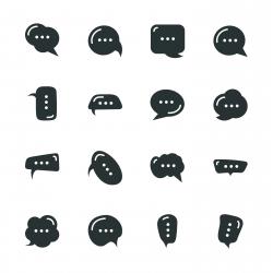 Speech Bubble Silhouette Icons