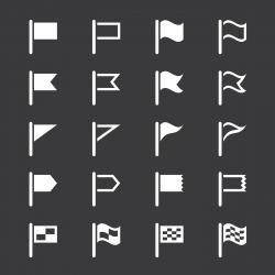 Flag Icons - White Series | EPS10