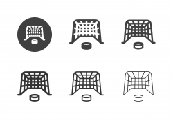 Ice Hockey Goal with Puck Icons - Multi Series