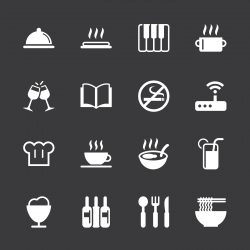 Restaurant Icons Set 2 - White Series | EPS10