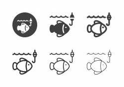 Fish with Fishing Hook Icons - Multi Series