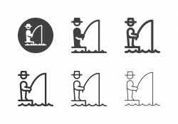 Fisherman Standing in Fishing Icons - MultI Series