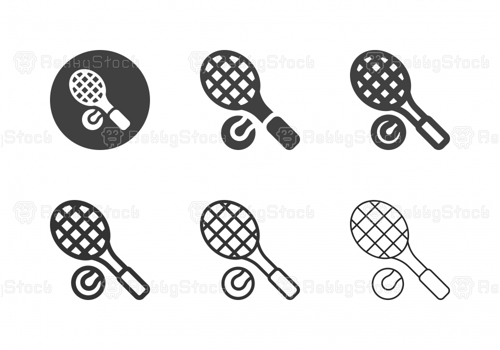 Tennis Racket and Ball Icons - Multi Series