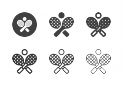 Crossed Tennis Racket and Ball Icons - Multi Series