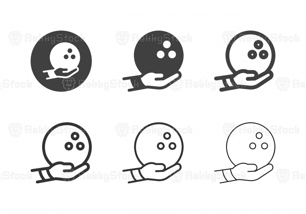 Hand Holding Bowling Ball Icons - Multi Series