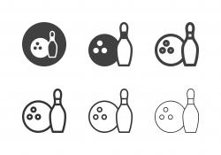 Bowling Ball and Bowling Pin Icons - Multi Series