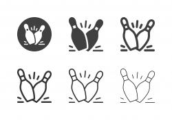 Bowling Pin Hitting Icons - Multi Series