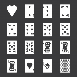 Heart Suit Playing Card Icons - White Series | EPS10