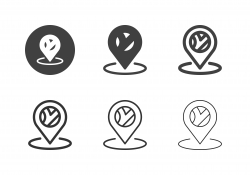 Road Map Pin Icons - Multi Series