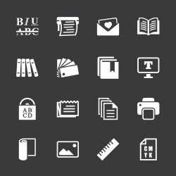 Print and Publishing Icons - White Series | EPS10