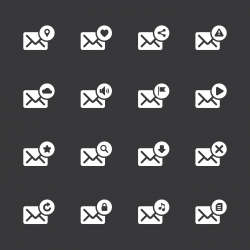 Email Icons - White Series | EPS10
