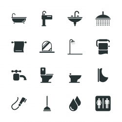 Bath and Bathroom Silhouette Icons