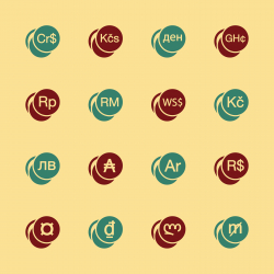 Currency Symbol Icons Set 2 - Color Series | EPS10