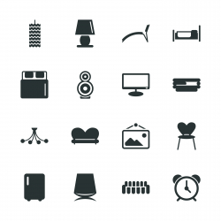Home Interior Silhouette Icons