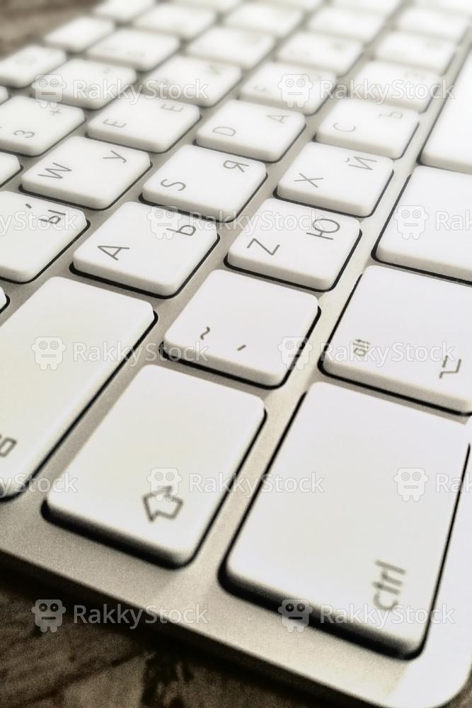 Close-Up Of Russian Computer Keyboard