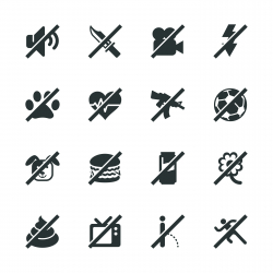 Prohibitions Silhouette Icons Set 2