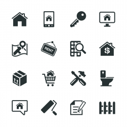 Real Estate Silhouette Icons Set 2