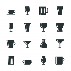 Cup and Glass Silhouette Icons