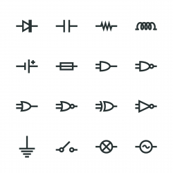 Electronic Circuit Silhouette Icons