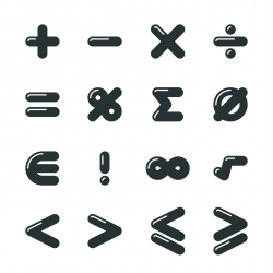 Mathematics Silhouette Icons