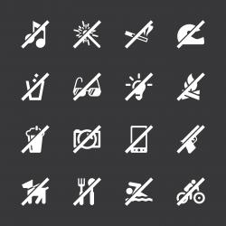 Prohibitions Icons Set 1 - White Series