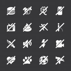 Prohibitions Icons Set 2 - White Series