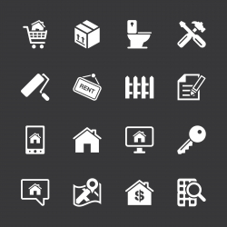 Real Estate Icons Set 2 - White Series