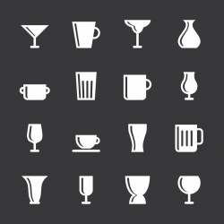 Cup and Glass Icons - White Series