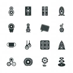 Loudspeaker Design Silhouette Icons