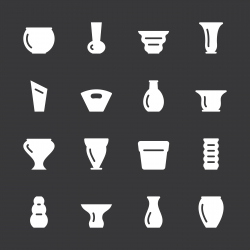 Pot and Vase Icons Set 1 - White Series