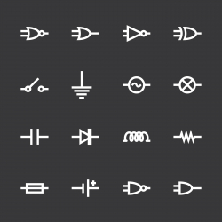 Electronic Circuit Icons - White Series