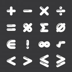Mathematics Icons - White Series