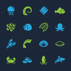 Seafood Icons - Color Series